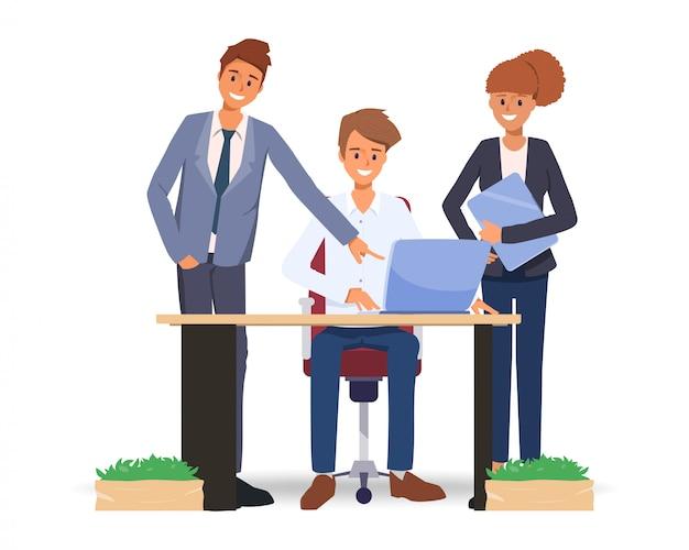 Travail d'équipe de gens d'affaires travaillant ensemble Vecteur Premium