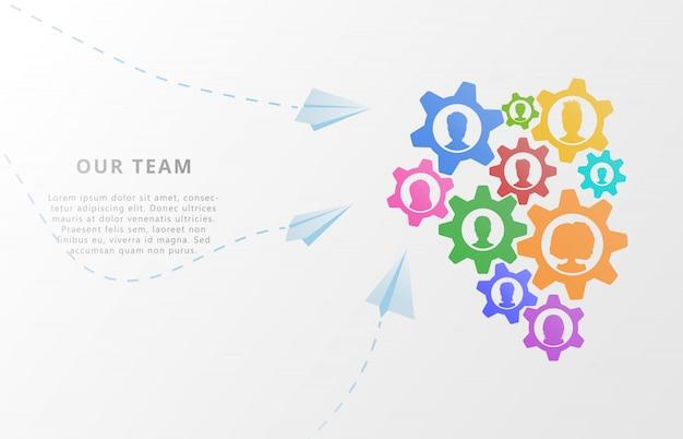 Travail d'équipe. icônes d'avatar et engrenages pour partenariat, conseil, gestion de projet Vecteur Premium