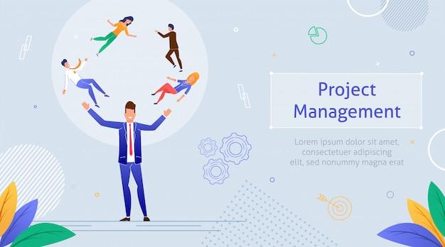 Travail d'équipe multitâche pour la gestion de projets. modèle Vecteur Premium