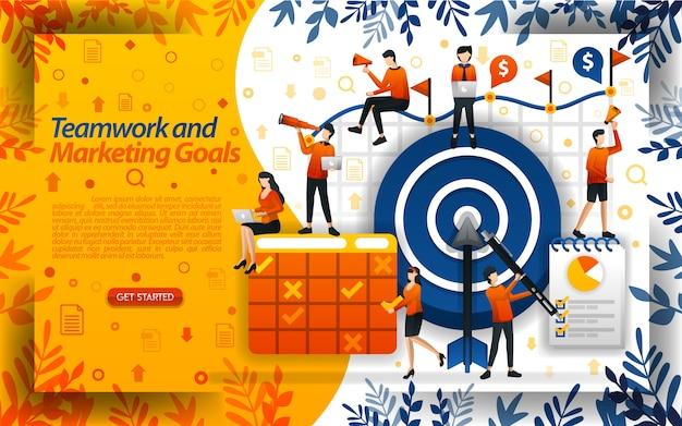 Travail d'équipe et objectifs marketing Vecteur Premium