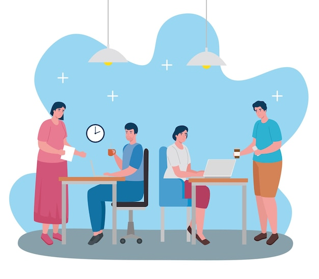 Travail D'équipe Des Personnages De Bureau De Coworking Des Travailleurs Vecteur Premium