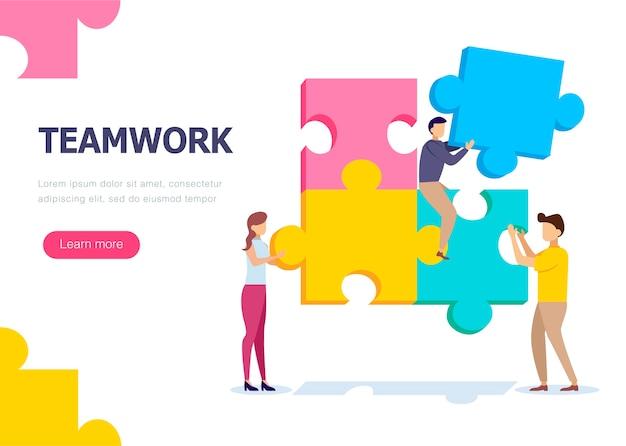 Travail d'équipe de personnes qui collectent un puzzle. Vecteur Premium