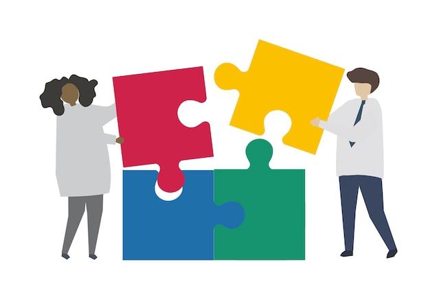 Travail d'équipe reliant une pièce de puzzle Vecteur gratuit