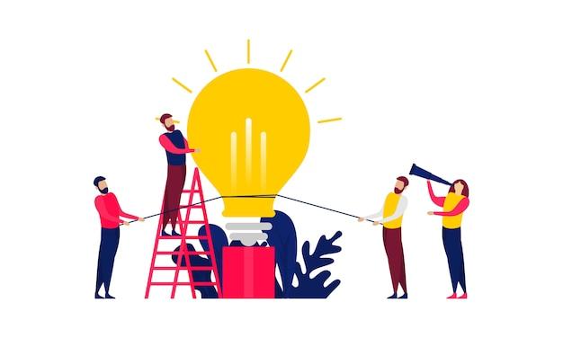 Travail D'équipe De Remue-méninges, Conception D'illustration De Réunion D'affaires Vecteur Premium