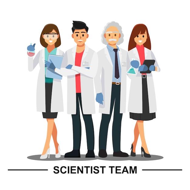 Travail d'équipe de scientifique, personnage de bande dessinée illustration vectorielle. Vecteur Premium