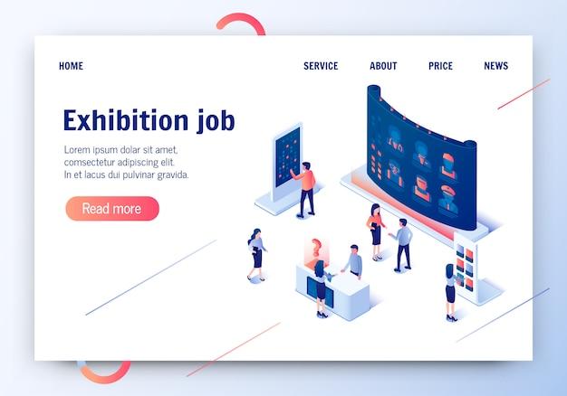 Travail d'exposition. bannière horizontale de la profession Vecteur Premium