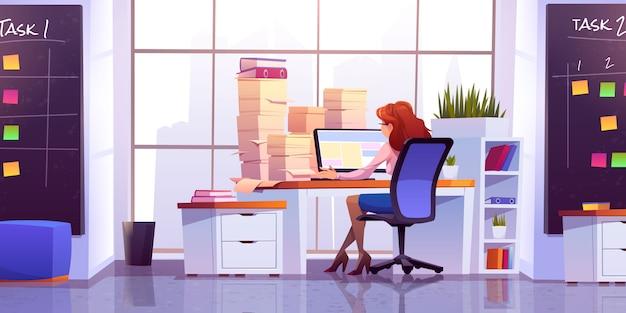 Travail De Femme Au Bureau Assis Au Bureau Avec Ordinateur Vecteur gratuit
