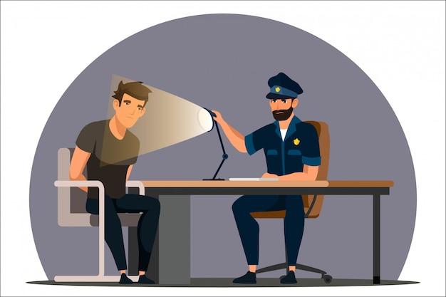 Travail D'illustration Du Service De Police Vecteur Premium