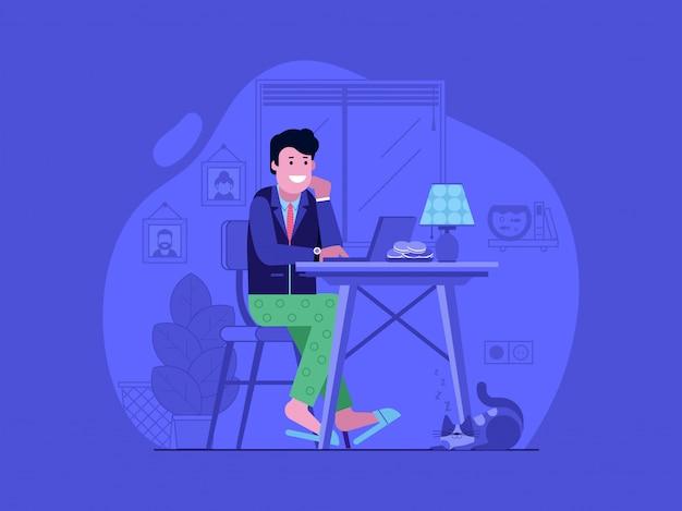 Travailler à Domicile Avec Un Jeune Homme Heureux En Costume Et Pyjama à L'aide D'un Ordinateur Portable. Vecteur Premium