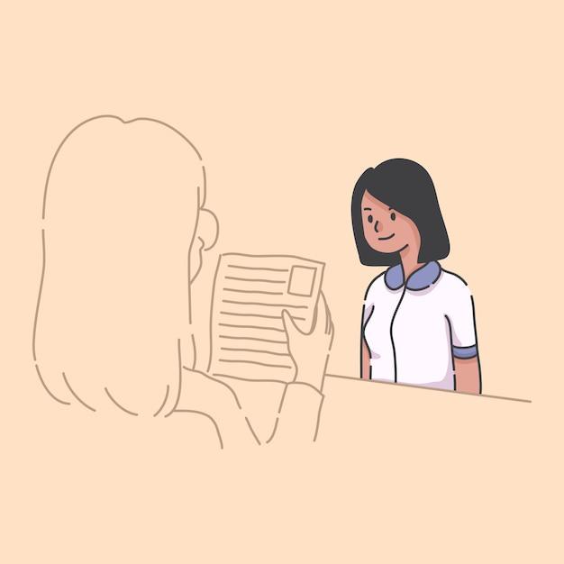 Travailler à La Maison Fille à L'aide D'illustration D'ordinateur Portable Vecteur Premium