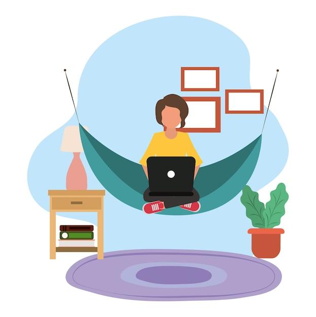 Travailler à La Maison, Homme Utilisant Un Ordinateur Portable Dans Un Hamac, Personnes à La Maison En Quarantaine Illustration Vecteur Premium