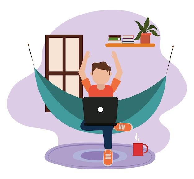 Travailler à La Maison, Jeune Homme Utilisant Un Ordinateur Portable Sur Un Hamac Dans La Chambre, Les Gens à La Maison En Quarantaine Illustration Vecteur Premium