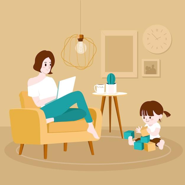 Travailler à la maison maman et enfant Vecteur Premium