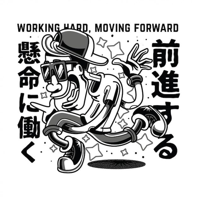 Travailler En Mouvement Illustration Noir Et Blanc Vecteur Premium