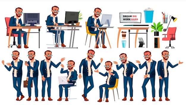 Travailleur de bureau Vecteur Premium