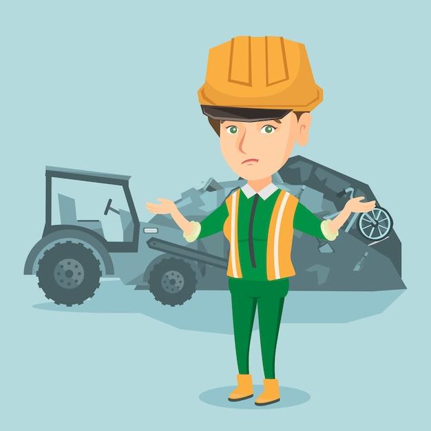 Travailleur De La Décharge D'ordures Debout Avec Les Bras écartés. Vecteur Premium