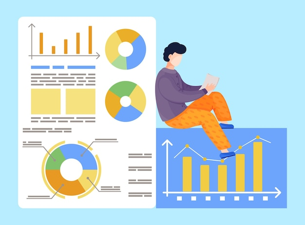 Travailleur Faisant Des Analyses, Analysant Des Graphiques, Des Diagrammes, Des Graphiques Vecteur Premium