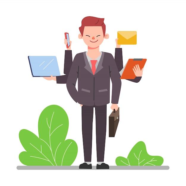 Travailleur De Gens D'affaires Avec Des Vêtements De Costume. Scène D'animation De Personnage De Bureau Homme. Vecteur Premium