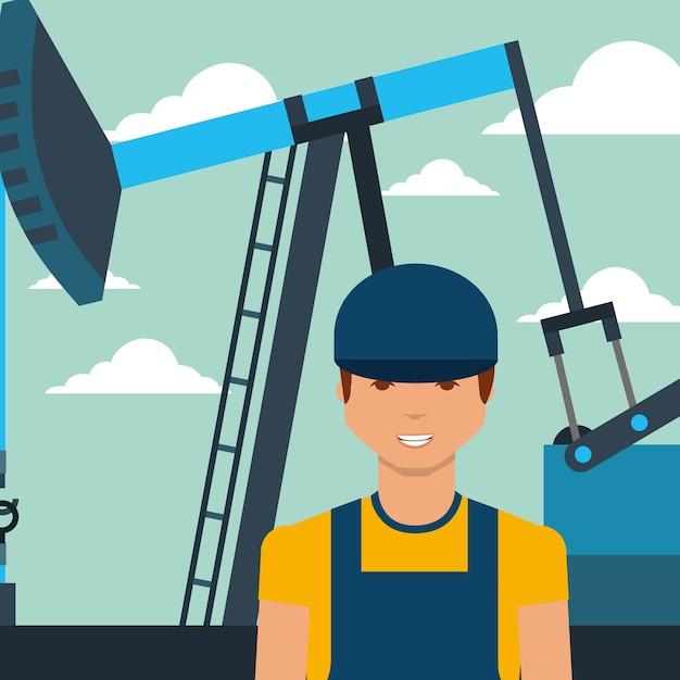 Travailleur homme et pompe illustration vectorielle de l'industrie pétrolière Vecteur Premium