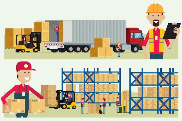 Travailleur logistique entrepôt de transport vérifiant les marchandises avec le vecteur d'illustration travailleurs cargo boîte Vecteur Premium