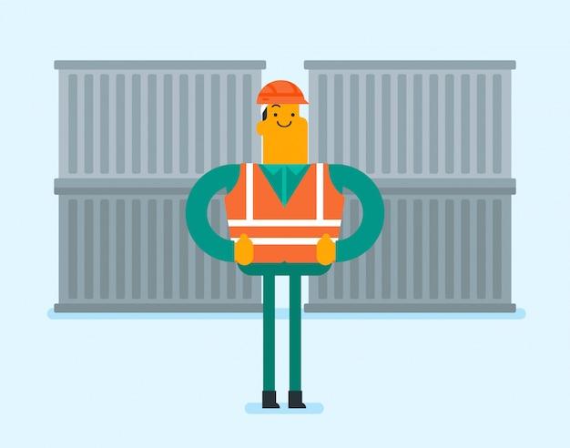 Travailleur portuaire debout sur fond de conteneur de fret Vecteur Premium