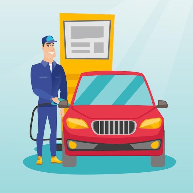 Travailleur remplit le carburant dans la voiture à la station d'essence Vecteur Premium