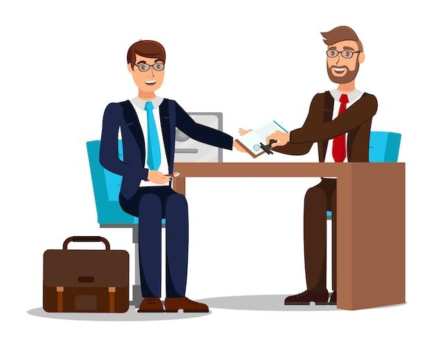Travailleur signant un contrat de travail Vecteur Premium