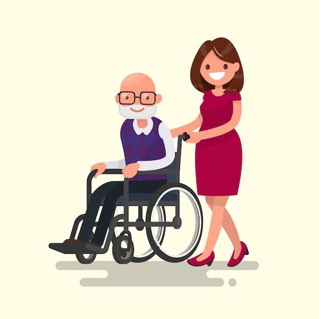 Travailleur Social Sur Une Promenade Avec Grand-père Handicapé Dans Une Illustration En Fauteuil Roulant Vecteur Premium