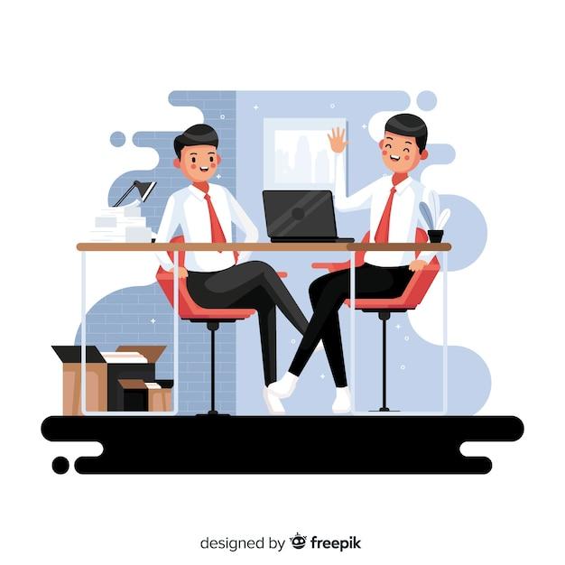 Travailleurs assis à leur bureau Vecteur gratuit