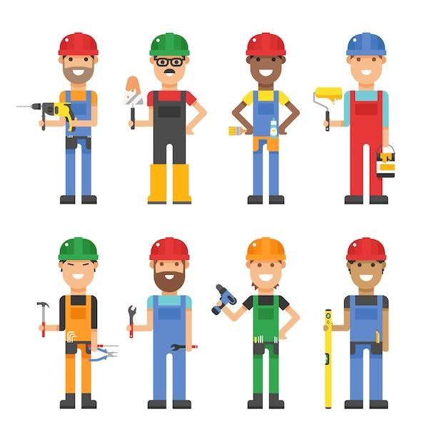 Travailleurs de la bande dessinée et autres outils sous illustration vectorielle de construction Vecteur Premium