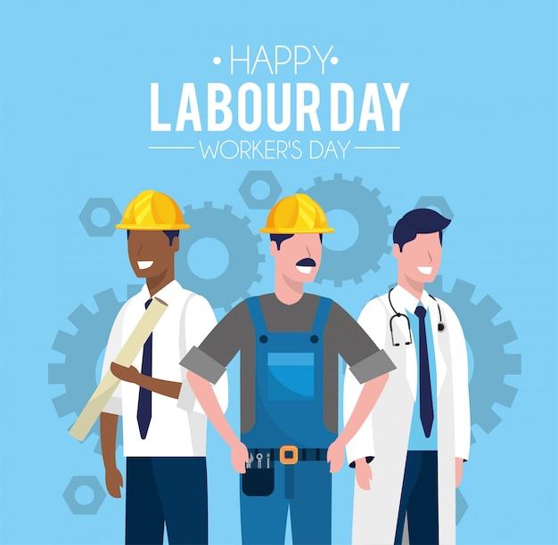 Les travailleurs à célébrer la fête du travail Vecteur Premium