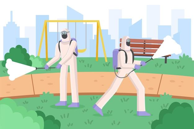 Des Travailleurs En Costume De Matières Dangereuses Nettoient Les Espaces Publics Vecteur gratuit
