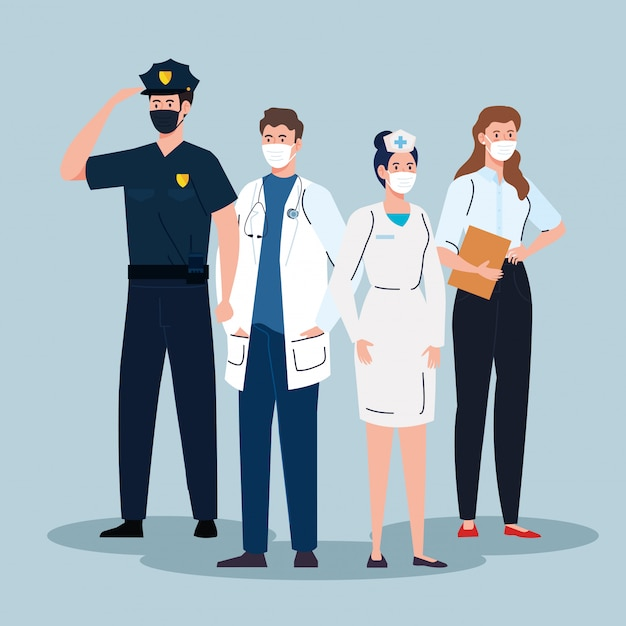 Les Travailleurs Du Groupe Portant Un Masque Médical Contre La Pandémie Vecteur Premium