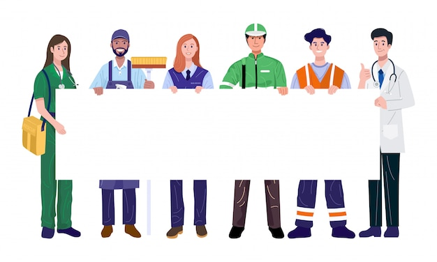 Travailleurs Essentiels Tenant Une Bannière Vierge. Illustration Vectorielle Vecteur Premium