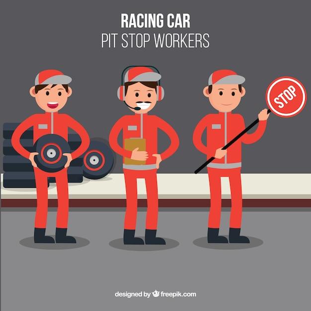 Travailleurs de la formule 1 pit stop avec un design plat Vecteur gratuit