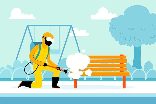 Travailleurs Fournissant Un Service De Désinfection Dans Les Espaces Publics Vecteur gratuit