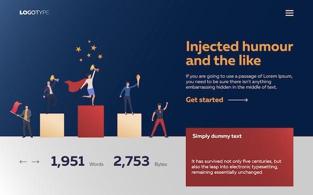 Les travailleurs gagnent des récompenses page de destination Vecteur gratuit