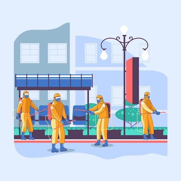 Travailleurs Nettoyant Les Espaces Publics Vecteur gratuit