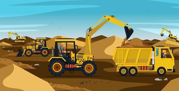 Les Travailleurs Qui Conduisent L'excavatrice Travaillent Sur Un Tas De Terre Et De Sable Vecteur Premium