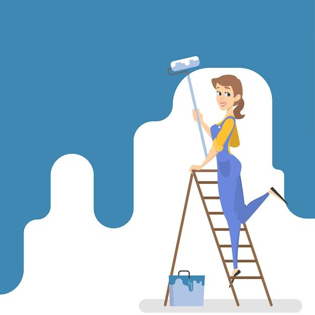 Travailleuse Peignant Le Mur Avec De La Peinture Bleue Et Du Rouleau. Salle De Décoration De Femme Souriante. Illustration Vecteur Premium