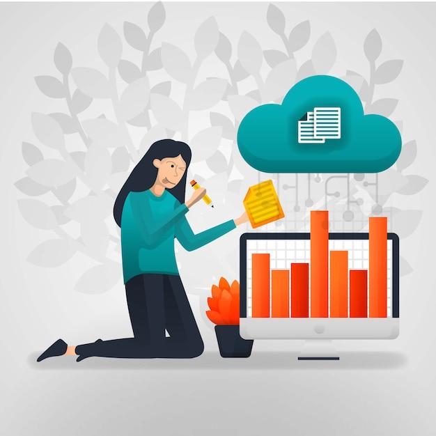 Les travailleuses changent les données du graphique des ventes du stockage en nuage. Vecteur Premium