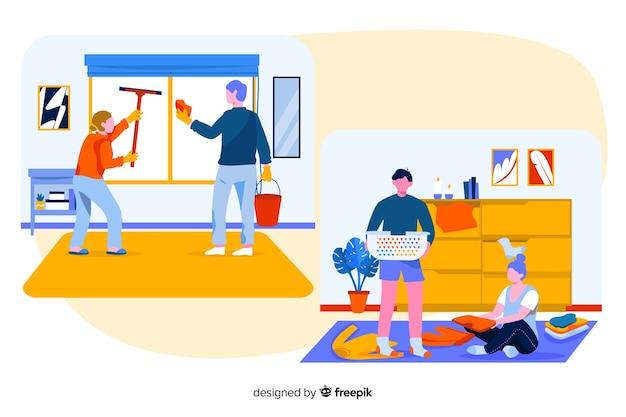 Travaux ménagers réalisés par des jeunes illustrés Vecteur gratuit