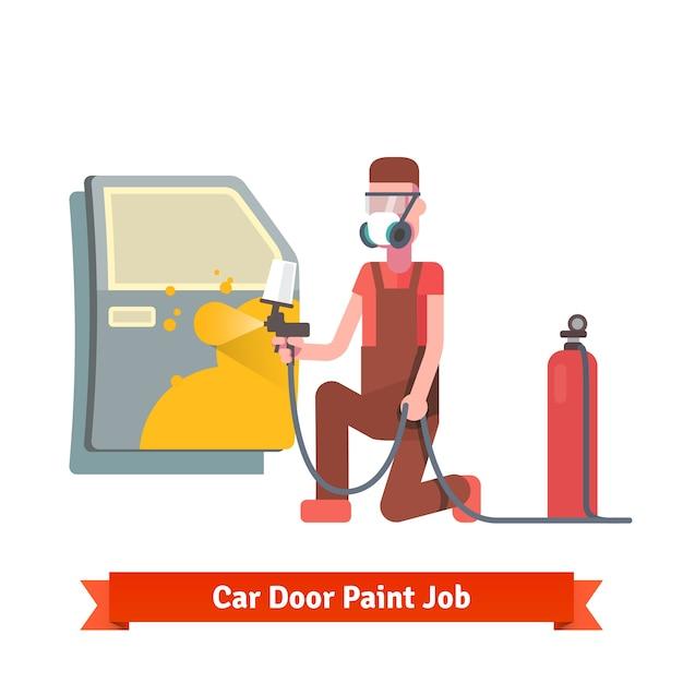 Travaux de peinture de porte de voiture Vecteur gratuit