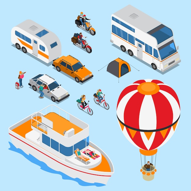 Travelling Isometric Set Vecteur gratuit
