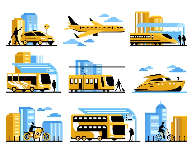 Travelling people isolated decorative icons set Vecteur gratuit