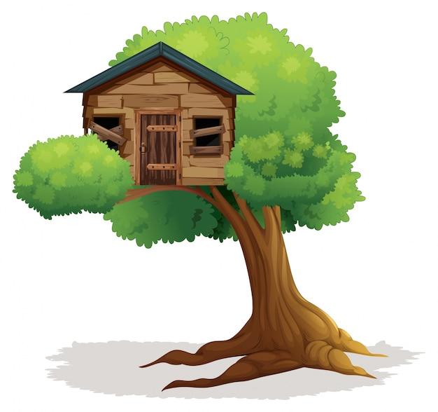 Treehouse En Bois Sur L'arbre Vecteur gratuit