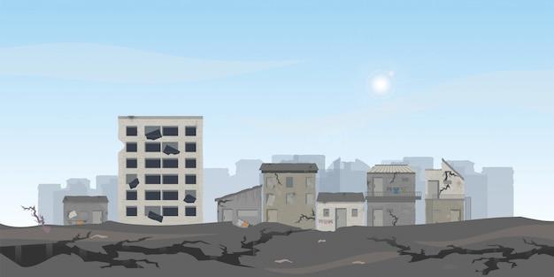 Le Tremblement De Terre A Détruit Des Maisons Et Des Rues. Vecteur Premium