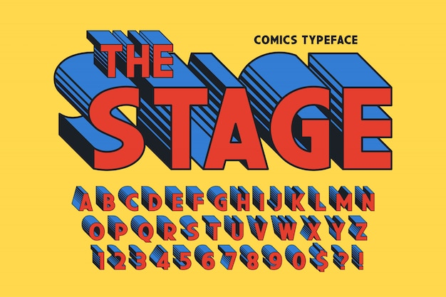 Trendy conception de polices comiques 3d, alphabet coloré, police de caractères. Vecteur Premium