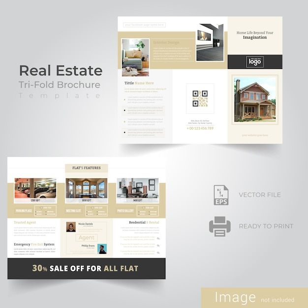 Tri fold brochure design for real estate company Vecteur Premium