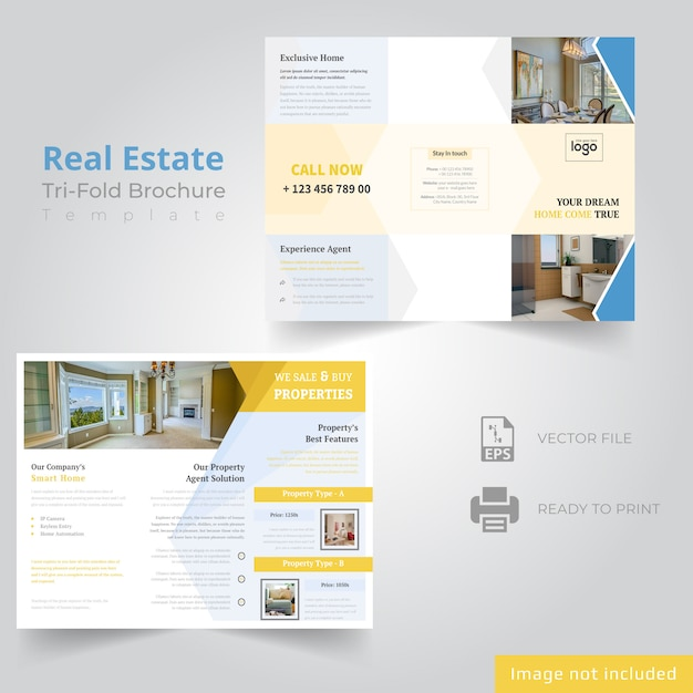 Tri fold brochure design for real estate company Vecteur Premium